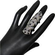 14k Gold Black Spinel Knuckle Ring 3.2ct Diamond Pave Sterling Silver Jewelry Oy