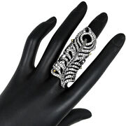 14k Gold Diamond Studded Knuckle Feather Ring Sterling Silver Fashion Jewelry Py