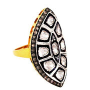 14k Gold Rose Cut Diamond Pave Sterling Silver Vintage Look Ring Wedding Jewelry