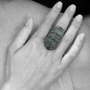 Tsavorite Diamond Antique Vintage Style Sterling Silver Finger Ring Jewelry Oy