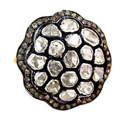 925 Sterling Silver Rose Cut Diamond Fine Ring 14k Gold Vintage Look Jewelry Oy