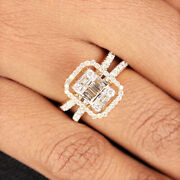 Pave Natural Baguette Diamond Solid 18k Yellow Gold Statement Ring Fine Jewelry