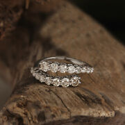 Solid 18k White Gold Pave Diamond Wrap Ring Vintage Style Jewelry Motherand039s Gift