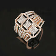 Solid 18k Rose Gold Pave Natural 1.37ct Diamond Statement Ring Wedding Jewelry 7