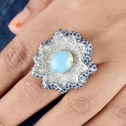 Opal Gemstone Sterling Silver Pave 1ct Diamond Sapphire Cocktail Ring Jewelry 7and039