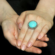 Gemstone Turquoise Sterling Silver Diamond Pave Ring 14k Gold Mothers Day Gift 7