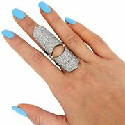 Diamond 14k Gold Armor Knuckle Ring 925 Silver Vintage Inspired New Jewelry Qy