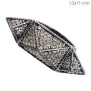 925 Sterling Silver Ring 6' Natural Diamond Pave Vintage Antique Look Jewelry Qy