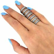 Pave 3.3ct Natural Diamond Long Stackable Armor Ring Sterling Silver Jewelry Py