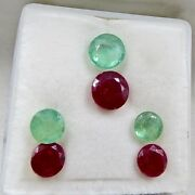 Natural Colombian Emerald Ruby Round Cut 9.91cts Gemstone Earring And Pendant