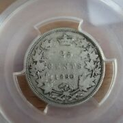 25 Cents 1880h Wide 0 Pcgs F-12 Canada Queen Victoria C Andcent Quarter W