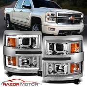 For 2014-2015 Chevy Silverado 1500 Pickup Led Chrome Projector Headlights Pair