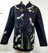 Quaker Factory Zip Up Shirt / Jacket -size 1x -black W/ Embroidered Dragonflies