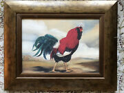 Antique Folk Art French Rooster By Alexandra Churchill On Solid Wood. Framed