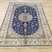 Yilong 6and039x9and039 Blue Hand Knotted Home Carpets Classic Handmade Silk Area Rugs 055c