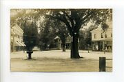 Sharon Ma Mass Rppc Photo Postcard, Post Office Square, Stores, Fountain, Signs