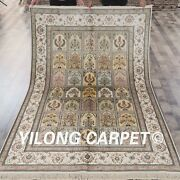 Yilong 5and039x8and039 Medium Handmade Silk Area Rugs Living Room Hand Knotted Carpet L45b