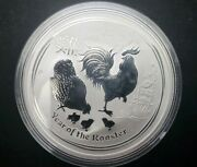 2017 Perth Mint 1 Oz .9999 Ag Silver Lunar Rooster Series 2 Coin In Capsule.