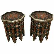 Modern Moroccan Side Or End Table Ebonized Wood White Brass And Bone Inlaid Pair