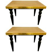 Hollywood Regency Style Brass Center Or End Table A Pair