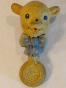 Vintage 1940and039s Rubber Teether Toy Rempel Enterprises Fleecy Lamb Baby Rattle