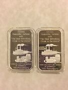 2 - Coca Cola .999 Silver Bar Evansville Indiana Type 1 And Ii 75th Anniversary