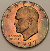 1977-s Eisenhower Ike Dollar Proof Choice Unc Magenta Color Intense Toned Dr
