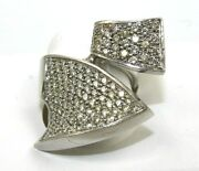 Round Diamond Cluster Bypass Fold Ladyand039s Ring 14k White Gold 2.58ct