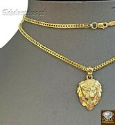 10k Gold Charm Pendant Lion Head With Franco Chain In 20 22 24 26 Inch Real Gold