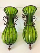 Pair Of Mid-century Design Green Sconces Seguso Style Caged Glass Wrought Iron