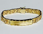 10k Solid Yellow Gold Handmade Menand039s Id Nugget Bracelet 9 Mm 40 Grams 9