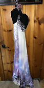 Purple And Black Alyce Design Feathered One Shoulder Prom Dress