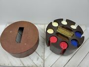 Antique Bakelite Marbled Poker Spinning Caddy And Chips