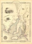 Part Of South Australia'. Shows Mining Districts. Tallis/rapkin 1851 Old Map