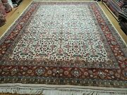 8and039 X 11and039 Vintage Fine Hand Made Indian Agra Wool Rug Ivory/ Beige Organic Dyes