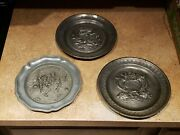 Eveque Metal Plate. See Photos. 3 Plates. Heavy Metal. Decorative