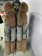 New Real Fur Vest With Fox Fur And Silver Fox Size L Adjustable