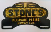 Rare Vintage Original 1940and039s Stoneand039s Hybrids Seed Corn Metal Topper/sign