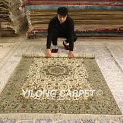 Yilong 5and039x8and039 Beige Handmade Silk Rugs Old World Hand Knotted Home Carpet 180ab
