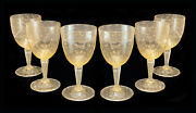 6 Venetian Gold Fleck Controlled Bubble Water Goblet Glasses, Circa 1950