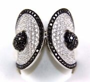 Round Diamond Black And White Cluster Ladyand039s Ring Band 18k White Gold 3.49ct