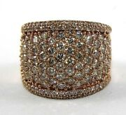 Fancy Color Round Diamond Cluster Wide Dome Ring Band 14k Rose Gold 3.40ct
