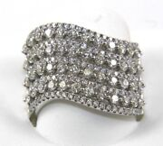 Round Diamond Cluster Wide Curve Dome Ring Band 14k White Gold 1.88ct