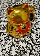 Mysterious Gold Weath-building Lucky Kitty - Elusive And Rare Collectible