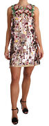 Dolce And Gabbana Dress Pink Floral Sequined Shift Crystal It40/ Us6 /s Rrp 11400