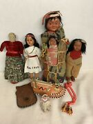 Vintage Antique Native American Indian Skookum Doll W/ Papoose And Others Lot