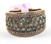 Round Fancy Color Brown Diamond Cluster Dome Wide Ring Band 14k Rose Gold 2.50ct
