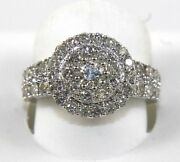 Natural Round Diamond Cluster Ladyand039s Ring 14k White Gold 2.16ct
