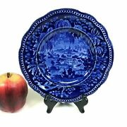 Early 1800and039s R And J Clews Staffordshire Dark Blue Oriental Scene Plate