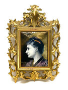 French Enamel Hand Painted Metal Plaque By E. Damandre 1889 Beauty